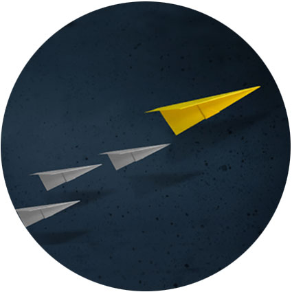 Paper planes with a leading larger brighter plane