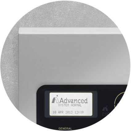 An Advanced fire detection panel installed on a wall