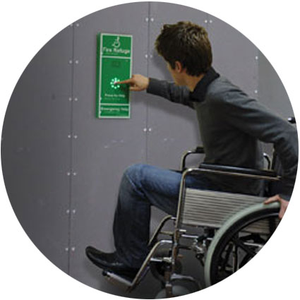 Disabled person calling for help via a disabled refuge point