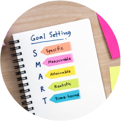 Goal settings noted down on a note pad with coloured pens