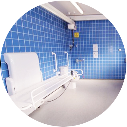 A bright and clean disabled changing and shower room