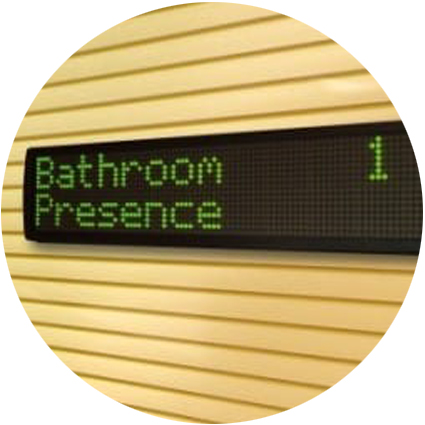 Monitoring point displaying 'bathroom presence 1'